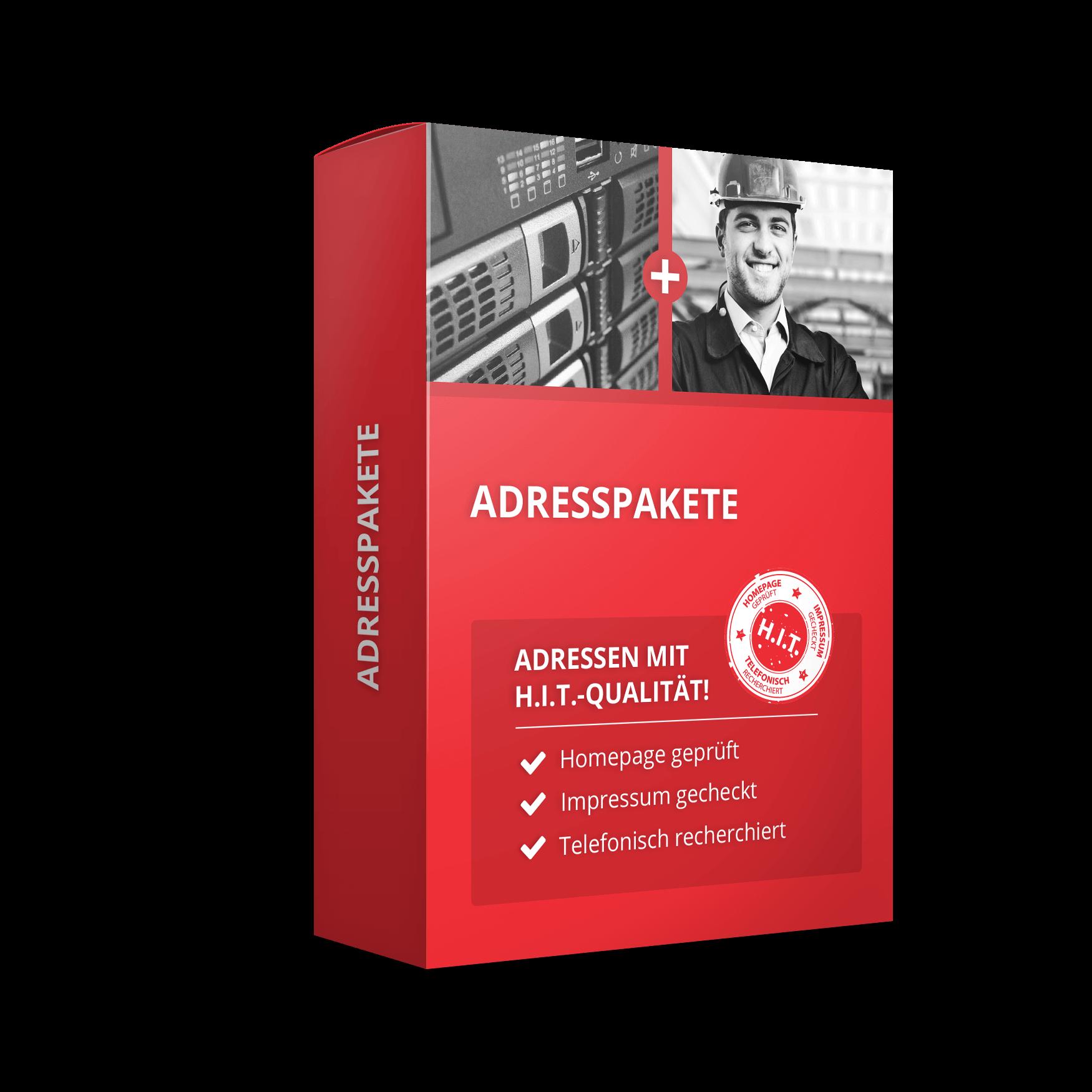 Darstellung einer roten Schachtel mit dem Titel Adresspakete